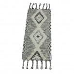 Fransenteppich Wolle Schwarz/Weiß 70x140cm