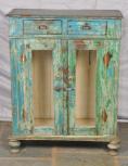 Schrank, 2 Türen, 2 Schubalden, Grün-Blau